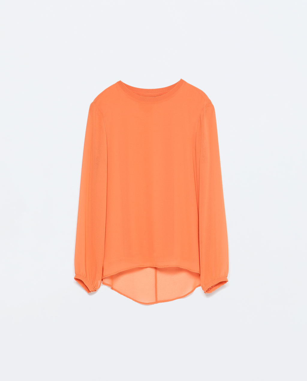 Long Sleeve Top - neckline: round neck; pattern: plain; length: below the bottom; predominant colour: bright orange; occasions: casual, work, creative work; style: top; fibres: viscose/rayon - stretch; fit: body skimming; sleeve length: long sleeve; sleeve style: standard; texture group: sheer fabrics/chiffon/organza etc.; pattern type: fabric; season: s/s 2015; wardrobe: highlight