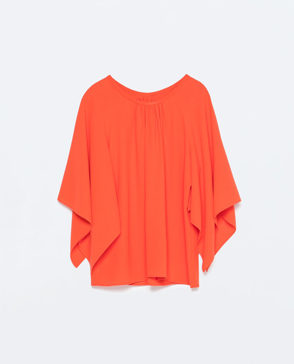 Kimono Sleeve Top - neckline: round neck; pattern: plain; sleeve style: kimono; length: below the bottom; predominant colour: bright orange; occasions: casual, evening, creative work; style: top; fit: loose; sleeve length: 3/4 length; pattern type: fabric; texture group: other - light to midweight; season: s/s 2015; wardrobe: highlight