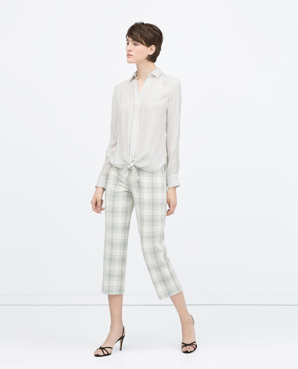 Checked Cropped Trousers - pattern: checked/gingham; style: capri; waist: mid/regular rise; predominant colour: ivory/cream; occasions: casual, creative work; length: calf length; fibres: polyester/polyamide - mix; fit: straight leg; pattern type: fabric; texture group: woven light midweight; season: s/s 2015; pattern size: big & busy (bottom)