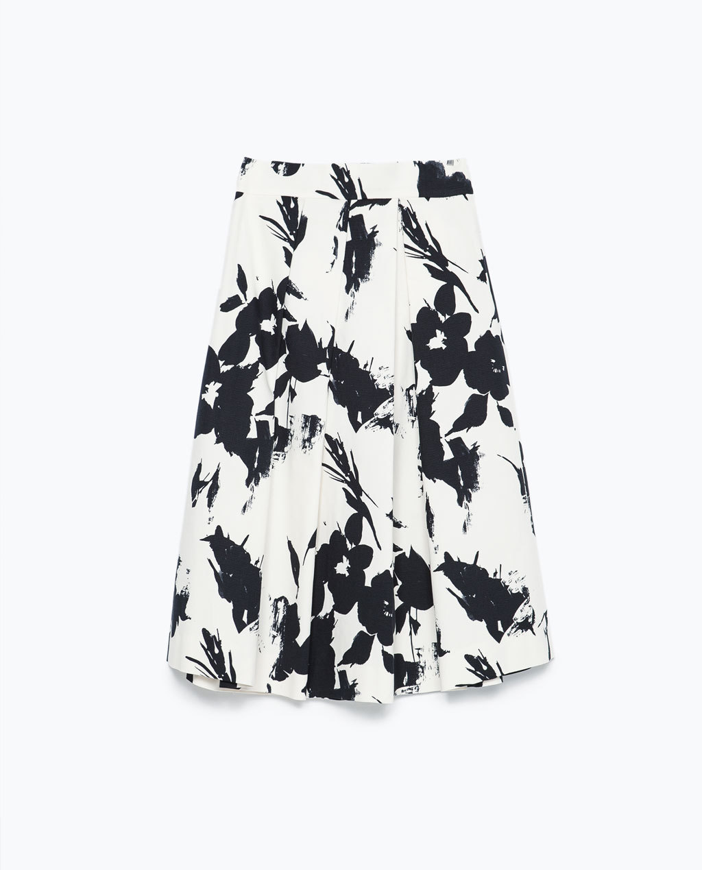 Floral Print Pleated Skirt - length: below the knee; fit: loose/voluminous; style: pleated; waist: high rise; secondary colour: white; predominant colour: black; occasions: evening, occasion, creative work; fibres: polyester/polyamide - stretch; hip detail: adds bulk at the hips; pattern type: fabric; pattern: florals; texture group: woven light midweight; trends: exotic blooms; season: s/s 2015; pattern size: big & busy (bottom); wardrobe: highlight