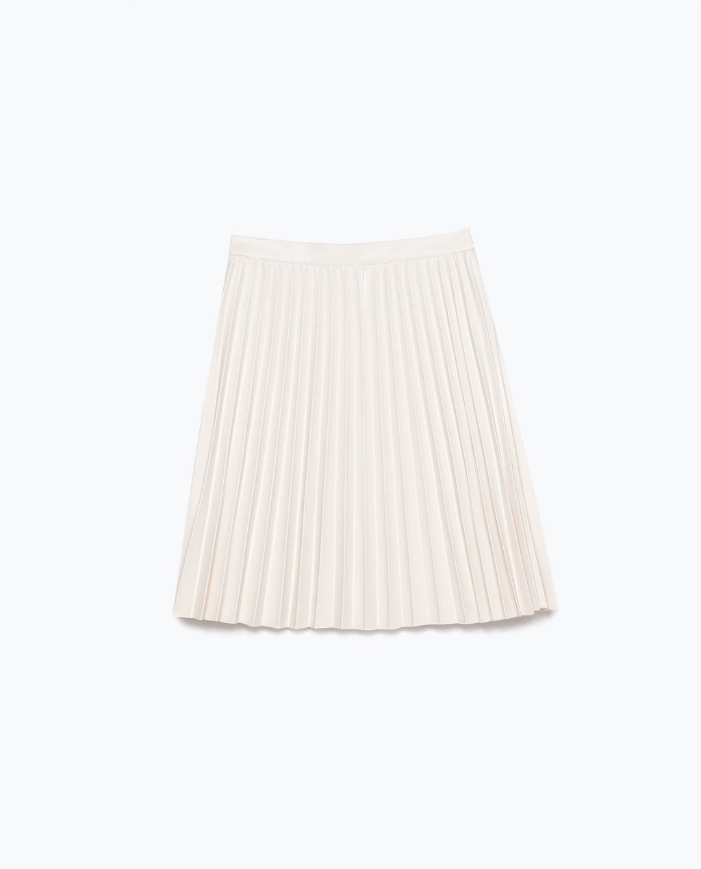 Pleated Short Skirt - length: mini; pattern: plain; fit: loose/voluminous; style: pleated; waist: high rise; predominant colour: ivory/cream; occasions: casual, evening, creative work; hip detail: adds bulk at the hips; waist detail: feature waist detail; pattern type: fabric; texture group: woven light midweight; fibres: pvc/polyurethene - 100%; season: s/s 2015; wardrobe: basic