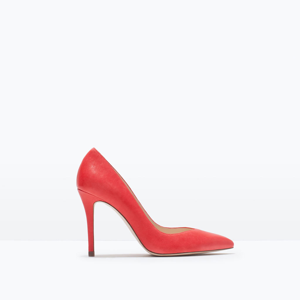 Leather High Heeled Court Shoe - predominant colour: true red; occasions: evening, occasion; material: faux leather; heel: stiletto; toe: pointed toe; style: courts; finish: plain; pattern: plain; heel height: very high; season: s/s 2015