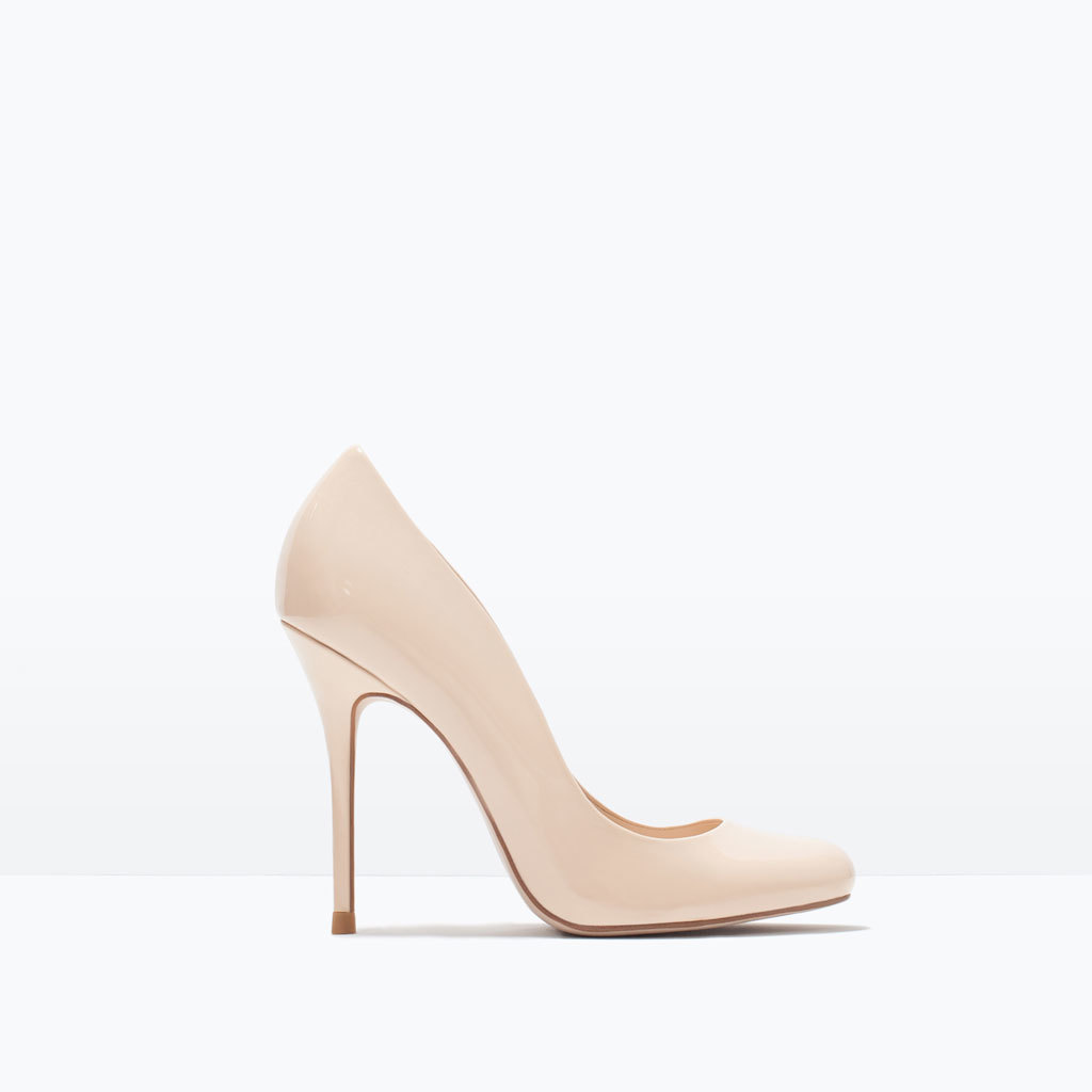 Synthetic Patent Leather High Heel Court Shoe - predominant colour: nude; occasions: evening, occasion; material: faux leather; heel: stiletto; toe: round toe; style: courts; finish: patent; pattern: plain; heel height: very high; season: s/s 2015; wardrobe: event