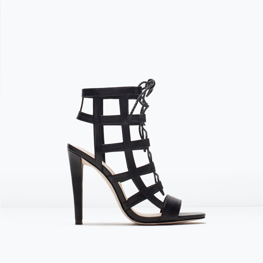Leather High Heel Wraparound Sandals - predominant colour: black; occasions: evening, occasion; material: leather; ankle detail: ankle tie; heel: stiletto; toe: open toe/peeptoe; style: gladiators; finish: plain; pattern: plain; heel height: very high; season: s/s 2015; wardrobe: event