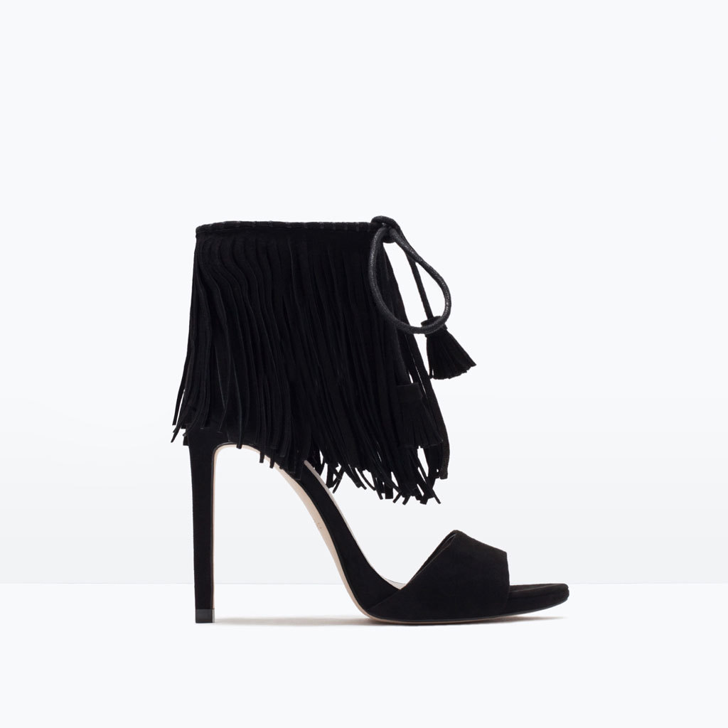 Fringed High Heel Sandals - predominant colour: black; occasions: evening, occasion; material: suede; ankle detail: ankle strap; heel: stiletto; toe: open toe/peeptoe; style: standard; finish: plain; pattern: plain; embellishment: fringing; heel height: very high; season: s/s 2015; wardrobe: event