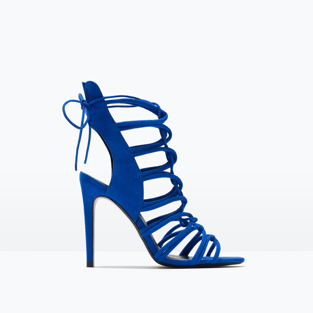 High Heel Strappy Slingback Sandals - predominant colour: diva blue; occasions: evening, occasion; heel height: high; ankle detail: ankle tie; heel: stiletto; toe: open toe/peeptoe; style: gladiators; finish: plain; pattern: plain; material: faux suede; season: s/s 2015; wardrobe: event