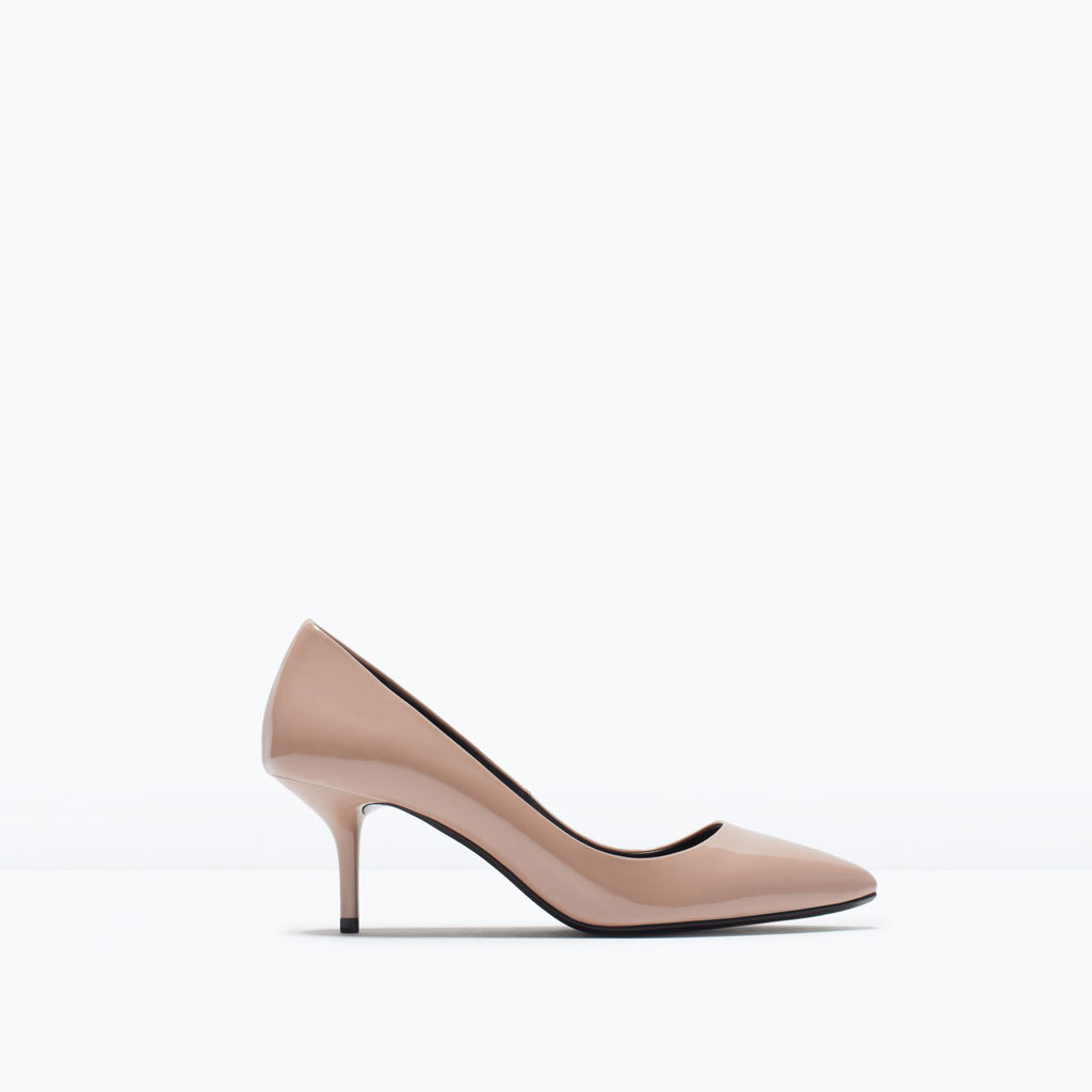 Mid Heel Patent Court Shoes - predominant colour: nude; occasions: evening, work, occasion; material: faux leather; heel height: mid; heel: kitten; toe: pointed toe; style: courts; finish: patent; pattern: plain; season: s/s 2015; wardrobe: investment
