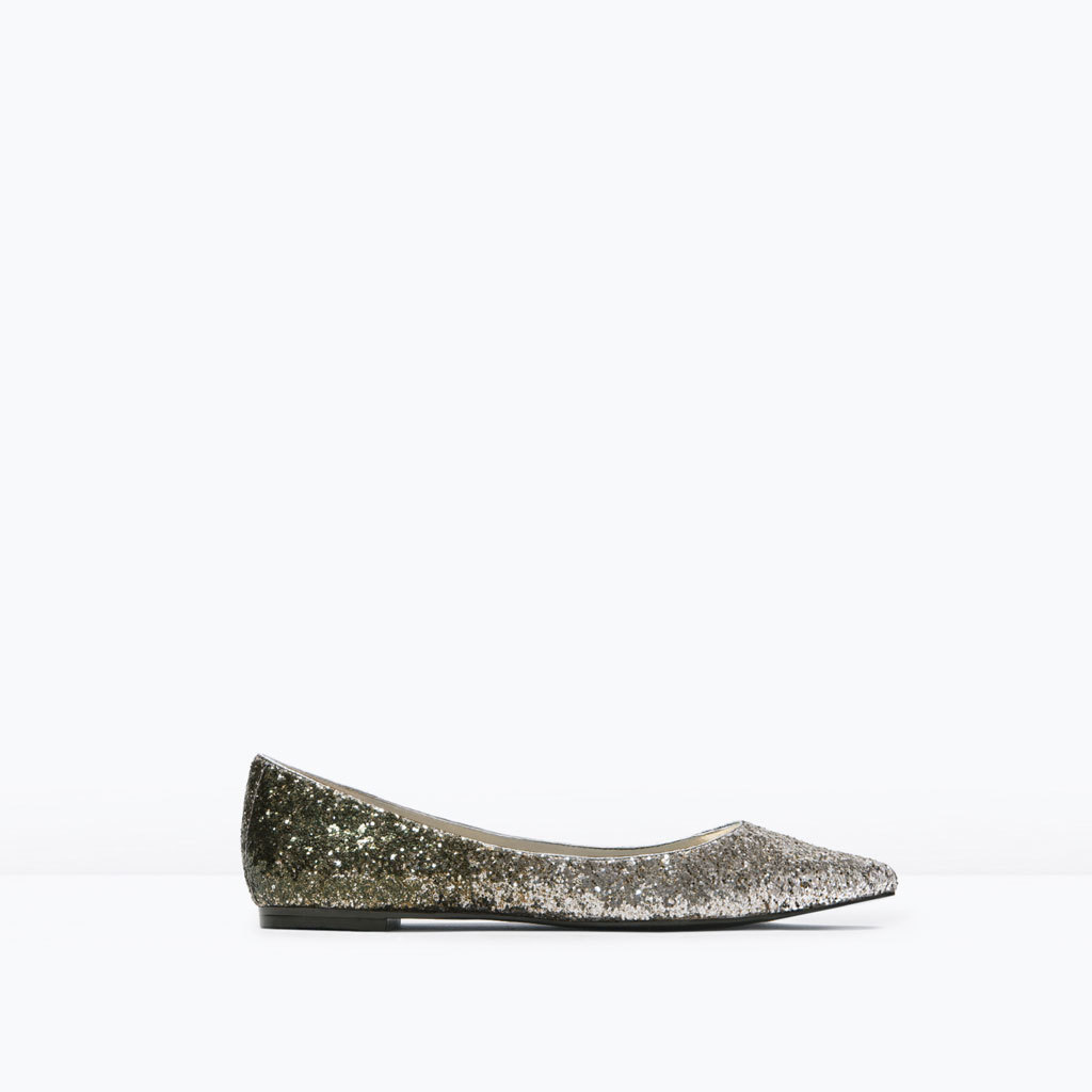 Glitter Pointed Ballet Flats - predominant colour: silver; occasions: evening, creative work; material: faux leather; heel height: flat; embellishment: glitter; toe: pointed toe; style: ballerinas / pumps; finish: metallic; pattern: plain; season: s/s 2015
