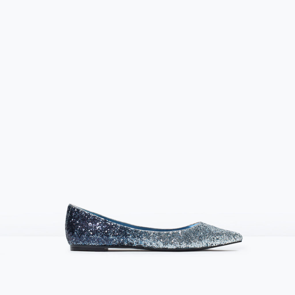 Glitter Pointed Ballet Flats - secondary colour: pale blue; predominant colour: navy; occasions: evening, creative work; material: faux leather; heel height: flat; embellishment: glitter; toe: pointed toe; style: ballerinas / pumps; finish: metallic; pattern: plain; season: s/s 2015; wardrobe: basic