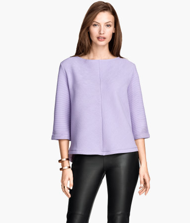 Wide Sweatshirt - neckline: slash/boat neckline; pattern: plain; style: sweat top; predominant colour: lilac; occasions: casual, creative work; length: standard; fibres: polyester/polyamide - stretch; fit: straight cut; sleeve length: 3/4 length; sleeve style: standard; pattern type: fabric; texture group: jersey - stretchy/drapey; season: s/s 2015; wardrobe: highlight