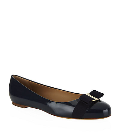 Varina Patent Leather Flat - predominant colour: navy; occasions: casual, evening, creative work; material: leather; heel height: flat; toe: round toe; style: ballerinas / pumps; finish: patent; pattern: plain; embellishment: bow; season: s/s 2015; wardrobe: basic