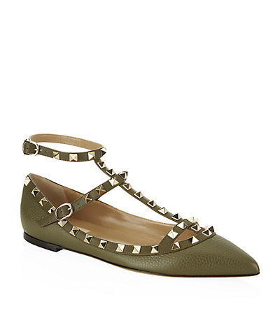 Rockstud Ballet Flat - predominant colour: khaki; occasions: casual, evening, creative work; material: leather; heel height: flat; embellishment: studs; ankle detail: ankle strap; toe: pointed toe; style: ballerinas / pumps; finish: plain; pattern: plain; season: s/s 2015; wardrobe: basic