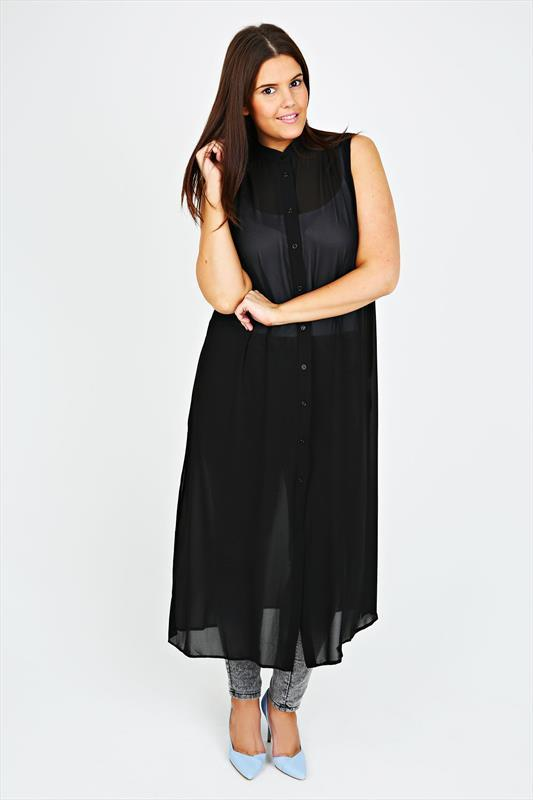 Black Sheer Chiffon Maxi Length Button Down Sleeveless Shirt - style: shirt; length: calf length; neckline: shirt collar/peter pan/zip with opening; fit: loose; pattern: plain; sleeve style: sleeveless; predominant colour: black; occasions: casual, evening, creative work; sleeve length: sleeveless; texture group: sheer fabrics/chiffon/organza etc.; pattern type: fabric; season: s/s 2015; wardrobe: basic