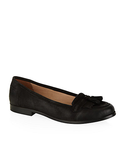 Lottie Loafers - predominant colour: black; occasions: casual, creative work; material: leather; heel height: flat; embellishment: tassels; toe: round toe; style: loafers; finish: plain; pattern: plain; season: s/s 2015; wardrobe: basic