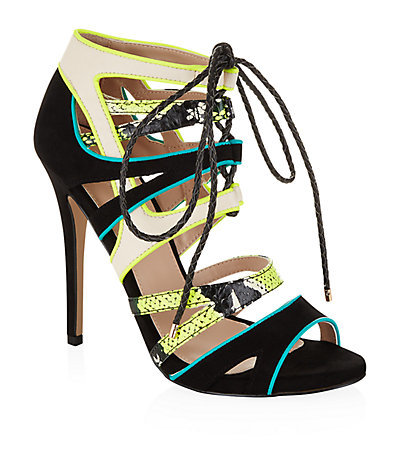Ghecko High Heel Sandals - occasions: evening, occasion; predominant colour: multicoloured; material: suede; heel: stiletto; toe: open toe/peeptoe; style: strappy; finish: plain; pattern: colourblock; heel height: very high; season: s/s 2015; multicoloured: multicoloured; wardrobe: event