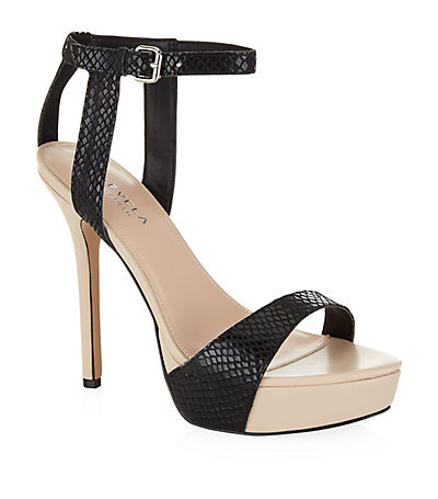 Gown High Heel Sandals - secondary colour: nude; predominant colour: black; occasions: evening, occasion; material: leather; ankle detail: ankle strap; heel: stiletto; toe: open toe/peeptoe; style: standard; finish: plain; pattern: plain; heel height: very high; shoe detail: platform; season: s/s 2015
