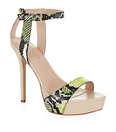 Gown High Heel Sandals - secondary colour: lime; predominant colour: nude; occasions: evening, occasion; material: leather; ankle detail: ankle strap; heel: stiletto; toe: open toe/peeptoe; style: standard; finish: plain; pattern: animal print; heel height: very high; shoe detail: platform; season: s/s 2015