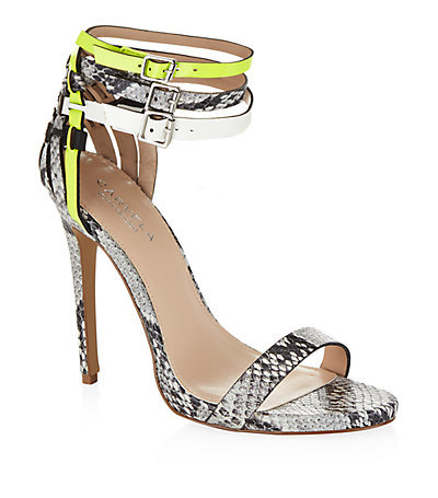 Gaze Snake Print High Heel Sandals - occasions: evening, occasion; predominant colour: multicoloured; material: leather; heel height: high; ankle detail: ankle strap; heel: stiletto; toe: open toe/peeptoe; style: standard; finish: plain; pattern: animal print; season: s/s 2015; multicoloured: multicoloured; wardrobe: event
