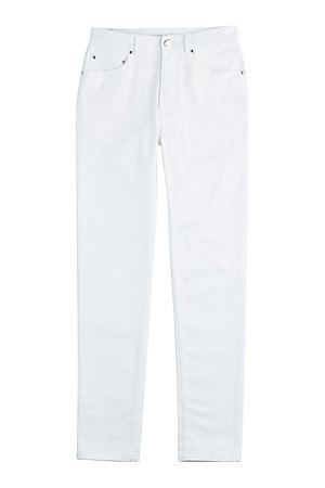 Stretch Cotton Skinny Jeans - style: skinny leg; length: standard; pattern: plain; waist: high rise; pocket detail: traditional 5 pocket; predominant colour: white; occasions: casual, creative work; fibres: cotton - stretch; texture group: denim; pattern type: fabric; season: s/s 2015; wardrobe: highlight