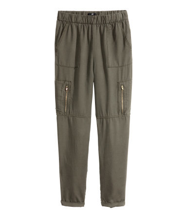 Cargo Pants - pattern: plain; waist detail: elasticated waist; waist: mid/regular rise; predominant colour: khaki; occasions: casual, creative work; length: ankle length; texture group: cotton feel fabrics; fit: slim leg; pattern type: fabric; style: standard; season: s/s 2015; wardrobe: basic