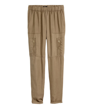 Cargo Pants - pattern: plain; waist detail: elasticated waist; waist: mid/regular rise; style: cargo; predominant colour: khaki; occasions: casual; length: ankle length; fibres: cotton - 100%; fit: slim leg; pattern type: fabric; texture group: woven light midweight; season: s/s 2015