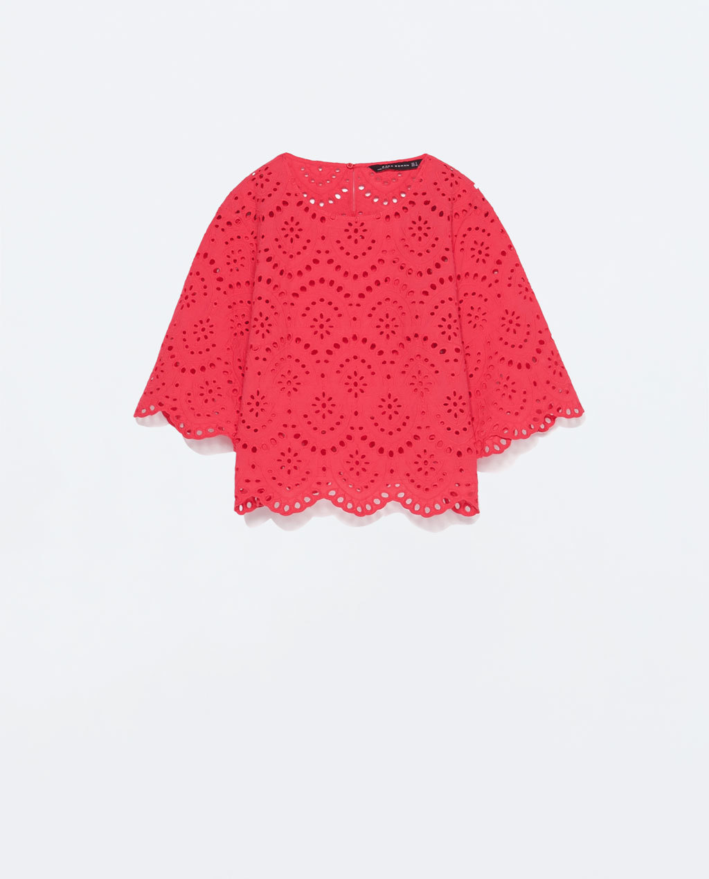 Cropped Embroidered Laser Cut Top - sleeve style: dolman/batwing; pattern: plain; predominant colour: true red; occasions: casual, creative work; length: standard; style: top; fibres: cotton - 100%; fit: straight cut; neckline: crew; sleeve length: half sleeve; texture group: cotton feel fabrics; pattern type: fabric; season: s/s 2015; wardrobe: highlight