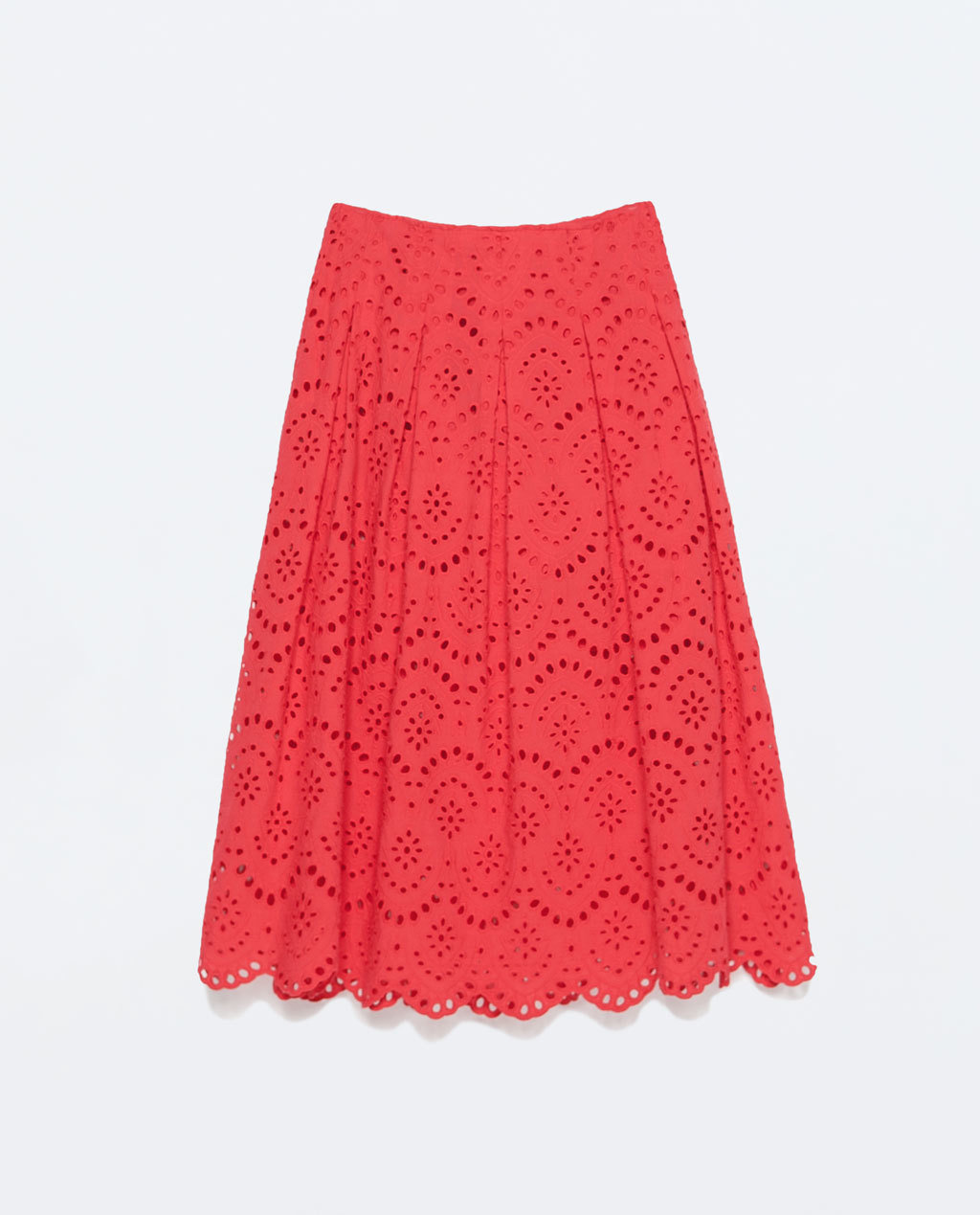 Long Laser Cut Skirt - pattern: plain; fit: loose/voluminous; waist: high rise; predominant colour: true red; occasions: evening, occasion; length: on the knee; style: a-line; fibres: cotton - 100%; hip detail: subtle/flattering hip detail; pattern type: fabric; texture group: woven light midweight; season: s/s 2015; wardrobe: event