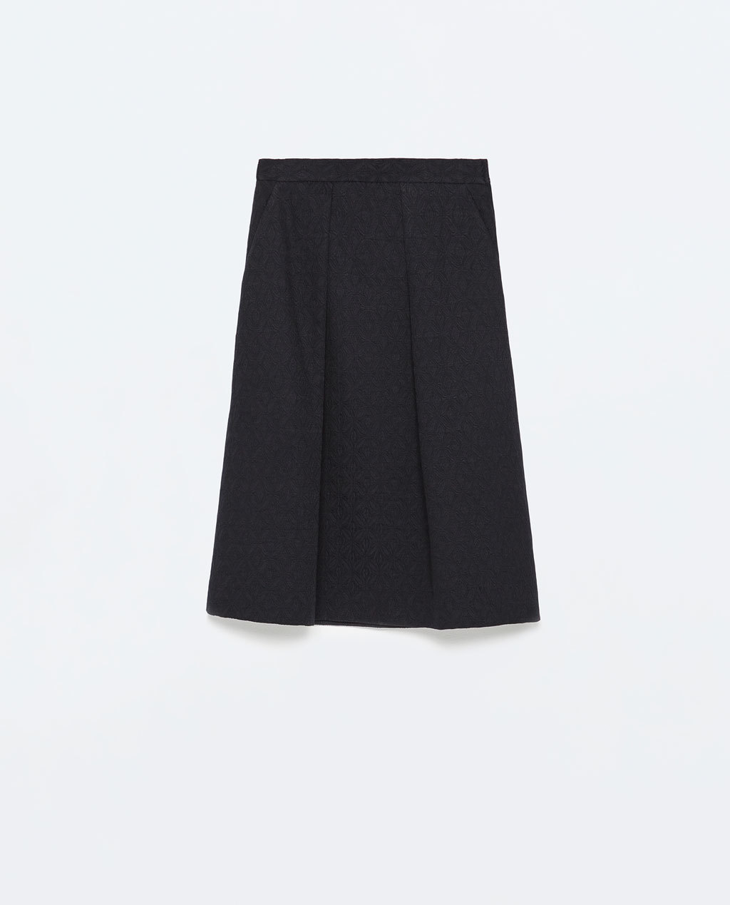Box Pleats Jacquard Midi Skirt - pattern: plain; style: full/prom skirt; fit: loose/voluminous; waist: high rise; predominant colour: navy; occasions: evening, work, creative work; length: on the knee; fibres: cotton - mix; hip detail: structured pleats at hip; waist detail: narrow waistband; pattern type: fabric; texture group: brocade/jacquard; season: s/s 2015