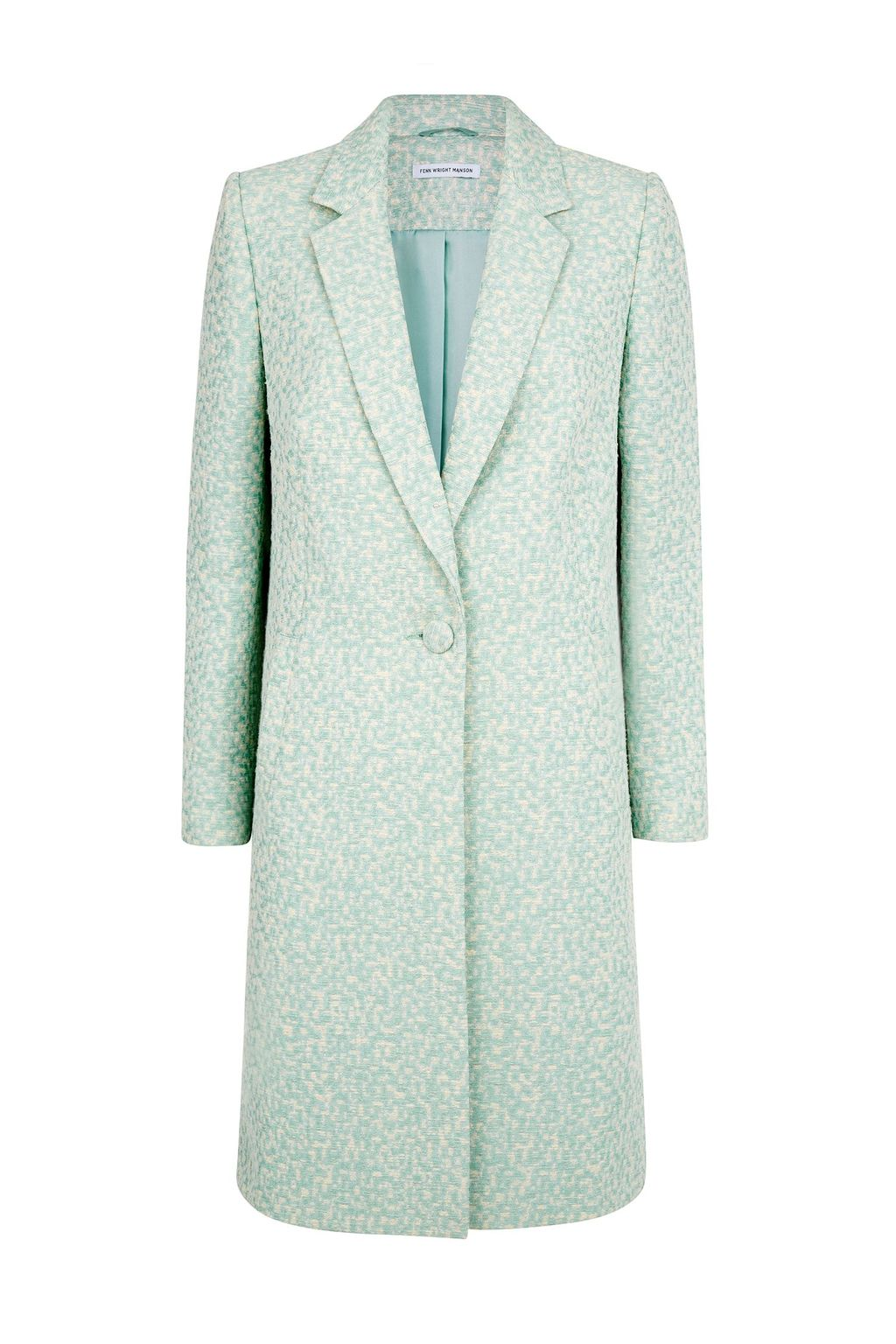 Lupine Coat, Blue - style: single breasted; length: on the knee; collar: standard lapel/rever collar; secondary colour: ivory/cream; predominant colour: pistachio; occasions: work, occasion, creative work; fit: straight cut (boxy); fibres: cotton - mix; sleeve length: long sleeve; sleeve style: standard; collar break: medium; pattern type: fabric; pattern size: standard; pattern: patterned/print; texture group: woven light midweight; season: s/s 2015; wardrobe: highlight