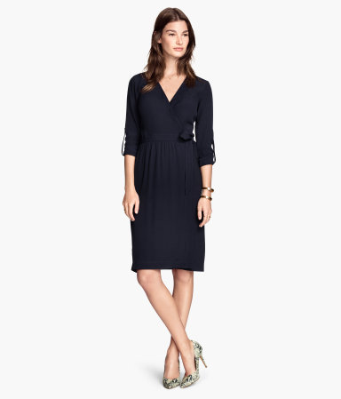 Wrap Dress - style: faux wrap/wrap; neckline: low v-neck; pattern: plain; waist detail: belted waist/tie at waist/drawstring; predominant colour: navy; occasions: casual, occasion, creative work; length: on the knee; fit: body skimming; fibres: viscose/rayon - 100%; sleeve length: 3/4 length; sleeve style: standard; texture group: woven light midweight; season: s/s 2015; wardrobe: basic
