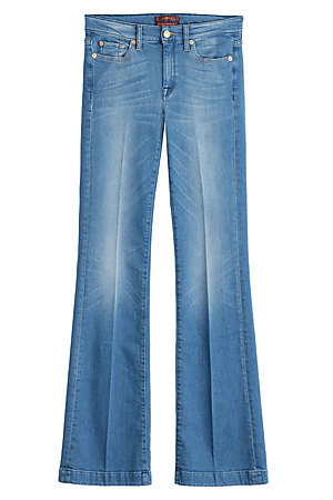 Flared Jeans - style: flares; length: standard; pattern: plain; waist: mid/regular rise; predominant colour: denim; occasions: casual, creative work; fibres: cotton - 100%; jeans detail: washed/faded; texture group: denim; pattern type: fabric; trends: seventies retro; season: s/s 2015; wardrobe: basic