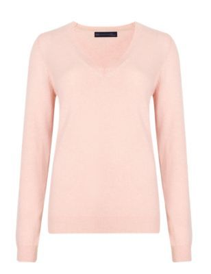 Pure Cashmere V Neck Jumper - neckline: v-neck; pattern: plain; style: standard; predominant colour: blush; occasions: casual, creative work; length: standard; fit: slim fit; fibres: cashmere - 100%; sleeve length: long sleeve; sleeve style: standard; texture group: knits/crochet; pattern type: knitted - fine stitch; pattern size: standard; season: s/s 2015; wardrobe: investment