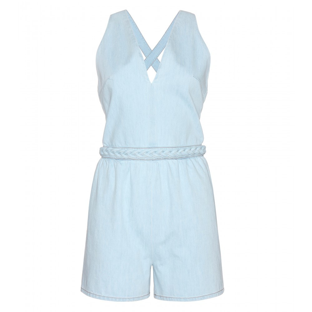 Denim Playsuit - neckline: v-neck; fit: tailored/fitted; pattern: plain; sleeve style: sleeveless; length: short shorts; predominant colour: pale blue; occasions: casual; fibres: cotton - 100%; sleeve length: sleeveless; texture group: denim; style: playsuit; pattern type: fabric; season: s/s 2015; wardrobe: highlight; embellishment location: waist
