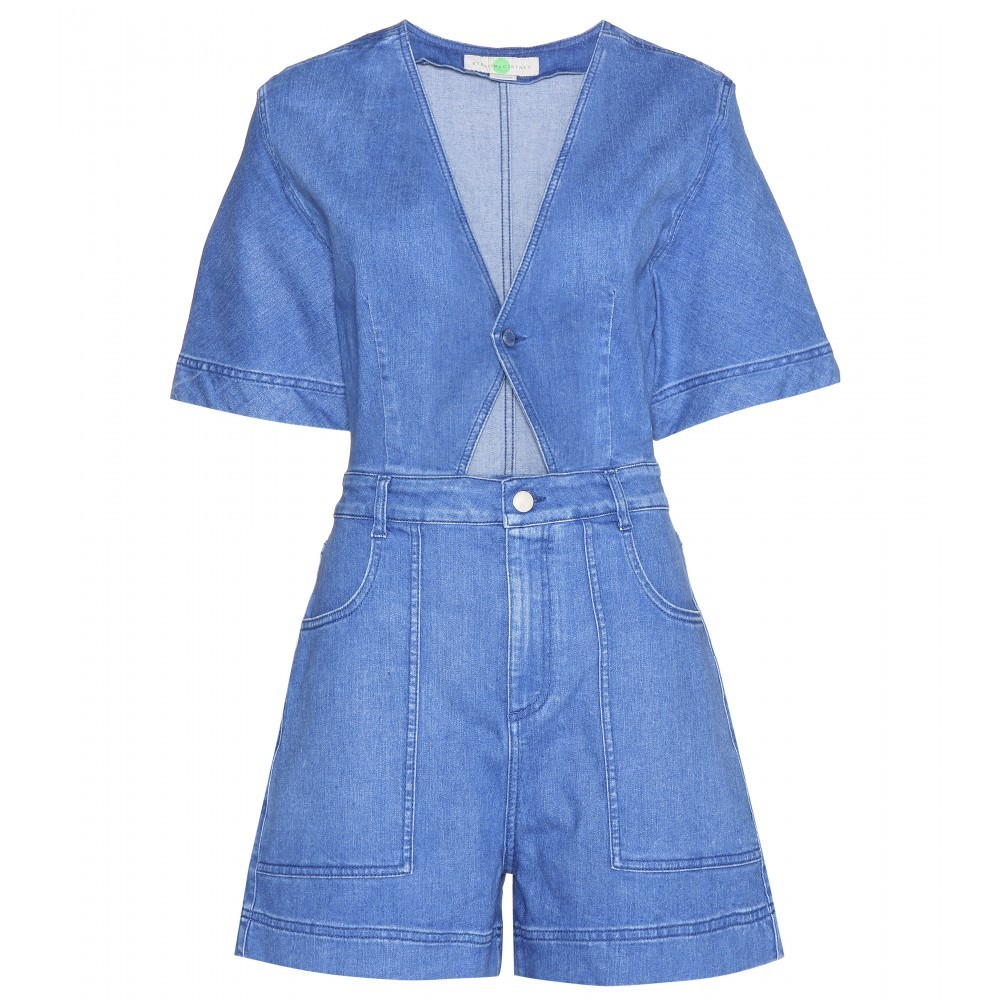 Cut Out Denim Playsuit - neckline: low v-neck; sleeve style: spaghetti straps; fit: tailored/fitted; pattern: plain; length: mid thigh shorts; predominant colour: denim; occasions: casual; fibres: cotton - 100%; waist detail: cut out detail; sleeve length: sleeveless; texture group: denim; style: playsuit; pattern type: fabric; trends: alternative denim; season: s/s 2015