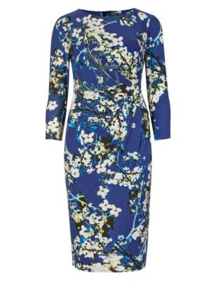 Drop A Dress Size Side Pleated Floral Shift Dress - style: shift; waist detail: flattering waist detail; predominant colour: white; secondary colour: royal blue; length: on the knee; fit: body skimming; fibres: polyester/polyamide - stretch; neckline: crew; sleeve length: 3/4 length; sleeve style: standard; pattern type: fabric; pattern: florals; texture group: jersey - stretchy/drapey; occasions: creative work; season: s/s 2015; multicoloured: multicoloured; wardrobe: highlight