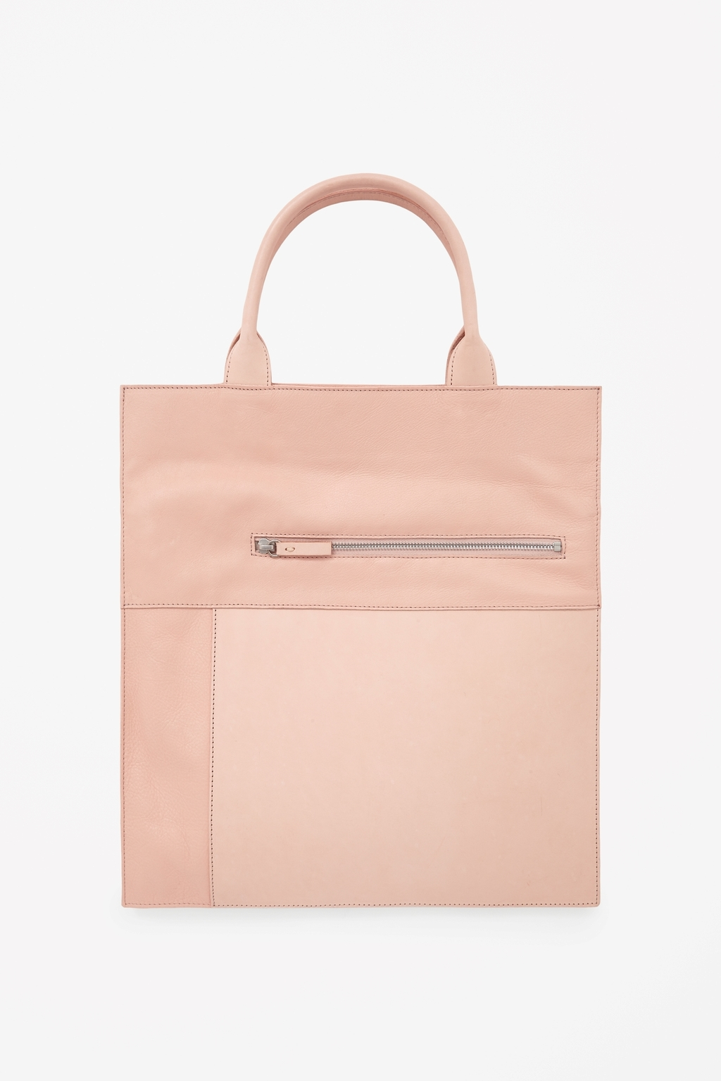 Panelled Leather Tote - predominant colour: nude; occasions: casual, work, creative work; type of pattern: standard; style: shoulder; length: handle; size: standard; material: leather; pattern: plain; finish: plain; season: s/s 2015; wardrobe: investment
