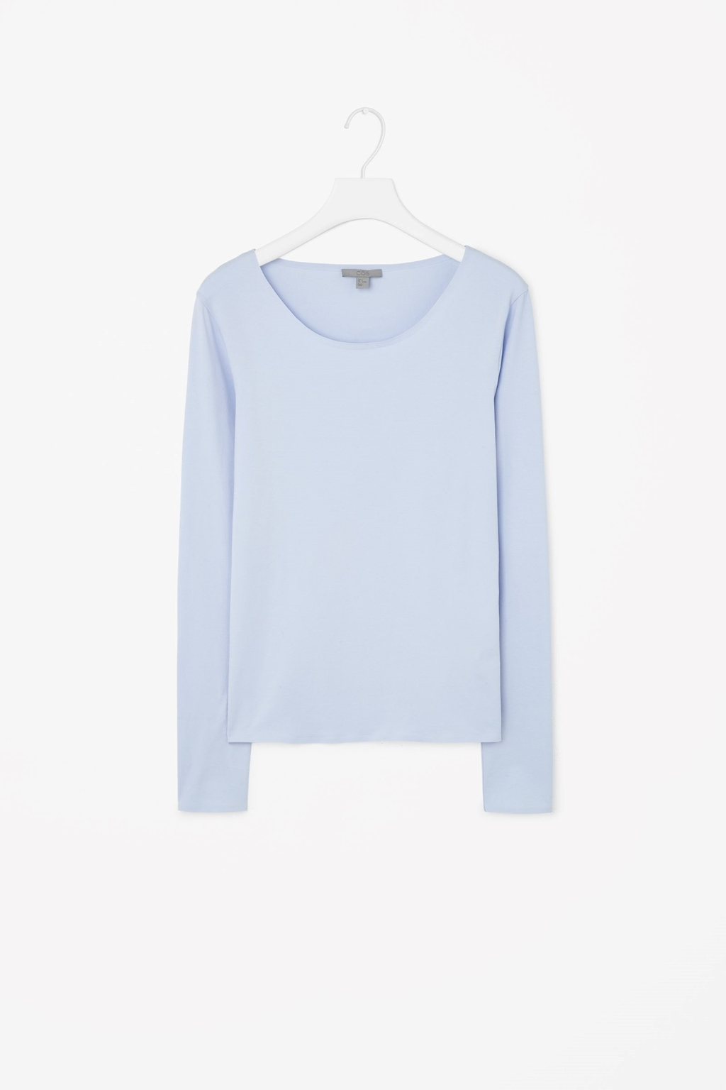Long Sleeve Cotton T Shirt - pattern: plain; style: t-shirt; predominant colour: pale blue; secondary colour: pale blue; occasions: casual, creative work; length: standard; neckline: scoop; fibres: cotton - 100%; fit: body skimming; sleeve length: long sleeve; sleeve style: standard; pattern type: fabric; texture group: jersey - stretchy/drapey; season: s/s 2015; wardrobe: highlight