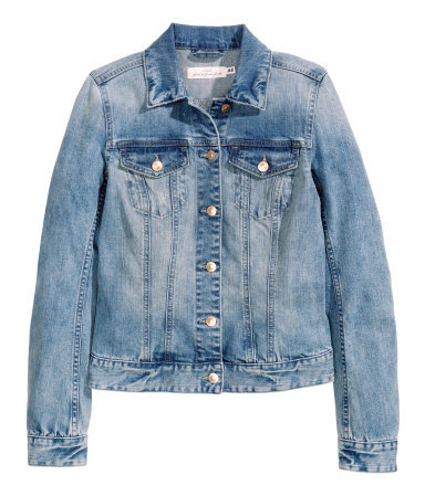 Denim Jacket - pattern: plain; style: denim; predominant colour: denim; occasions: casual, creative work; length: standard; fit: straight cut (boxy); fibres: cotton - stretch; collar: shirt collar/peter pan/zip with opening; sleeve length: long sleeve; sleeve style: standard; texture group: denim; collar break: high/illusion of break when open; pattern type: fabric; season: s/s 2015; wardrobe: basic