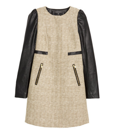 Coat In A Cotton Blend - collar: round collar/collarless; style: single breasted; pattern: herringbone/tweed; length: mid thigh; predominant colour: stone; secondary colour: black; occasions: casual, creative work; fit: straight cut (boxy); fibres: cotton - mix; hip detail: subtle/flattering hip detail; sleeve length: long sleeve; sleeve style: standard; collar break: high; pattern type: fabric; pattern size: standard; texture group: woven bulky/heavy; season: s/s 2015; wardrobe: basic