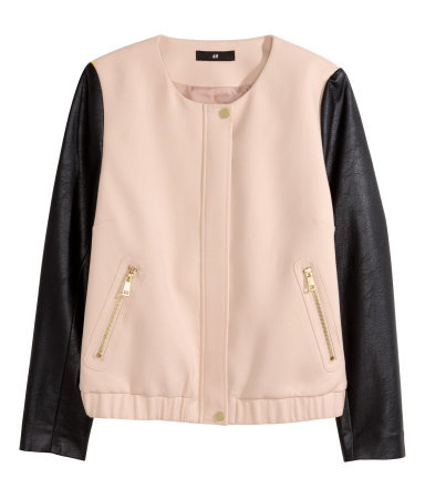 Short Jacket - collar: round collar/collarless; shoulder detail: contrast pattern/fabric at shoulder; style: bomber; predominant colour: blush; secondary colour: black; occasions: casual, evening, creative work; length: standard; fit: straight cut (boxy); fibres: polyester/polyamide - 100%; sleeve length: long sleeve; sleeve style: standard; collar break: high; pattern type: fabric; pattern size: standard; pattern: colourblock; texture group: woven light midweight; season: s/s 2015; wardrobe: highlight