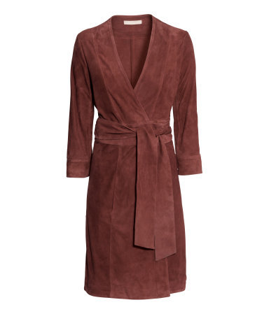 Wraparound Suede Dress - style: faux wrap/wrap; neckline: low v-neck; fit: tailored/fitted; pattern: plain; waist detail: belted waist/tie at waist/drawstring; predominant colour: chocolate brown; length: on the knee; fibres: leather - 100%; sleeve length: 3/4 length; sleeve style: standard; pattern type: fabric; texture group: suede; occasions: creative work; season: s/s 2015; wardrobe: highlight