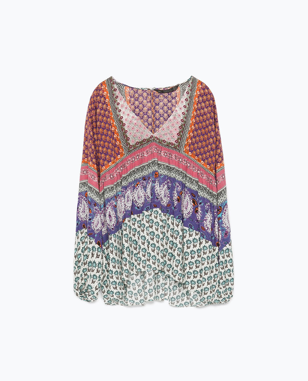 Printed Top - neckline: v-neck; length: below the bottom; style: blouse; occasions: casual; fibres: viscose/rayon - 100%; fit: loose; predominant colour: multicoloured; sleeve length: long sleeve; sleeve style: standard; pattern type: fabric; pattern: patterned/print; texture group: other - light to midweight; season: s/s 2015; pattern size: big & busy (top); multicoloured: multicoloured; wardrobe: highlight