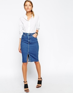 Denim Split Front Midi Pencil Skirt In Midwash Blue Blue - pattern: plain; style: pencil; fit: tailored/fitted; waist: high rise; predominant colour: black; occasions: casual, creative work; length: on the knee; fibres: cotton - stretch; texture group: denim; pattern type: fabric; season: s/s 2015; wardrobe: basic