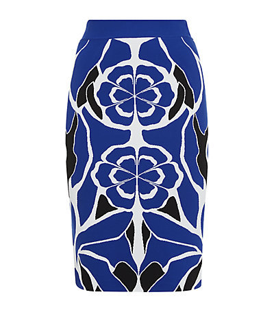 Flower Collage Pencil Skirt - style: pencil; fit: tailored/fitted; waist: mid/regular rise; secondary colour: white; predominant colour: royal blue; occasions: evening, creative work; length: on the knee; fibres: viscose/rayon - stretch; pattern type: fabric; pattern: florals; texture group: jersey - stretchy/drapey; trends: exotic blooms; season: s/s 2015; wardrobe: highlight