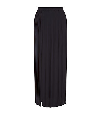 Pleated Maxi Skirt - pattern: plain; fit: body skimming; waist: mid/regular rise; predominant colour: black; occasions: evening, occasion, creative work; length: floor length; style: maxi skirt; fibres: polyester/polyamide - 100%; hip detail: adds bulk at the hips; texture group: cotton feel fabrics; pattern type: fabric; season: s/s 2015; wardrobe: basic