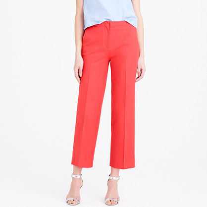 Patio Pant In Bi Stretch Cotton - pattern: plain; pocket detail: small back pockets, pockets at the sides; waist: mid/regular rise; predominant colour: coral; occasions: casual, evening, creative work; length: ankle length; fibres: cotton - mix; fit: straight leg; pattern type: fabric; texture group: woven light midweight; style: standard; season: s/s 2015; wardrobe: highlight