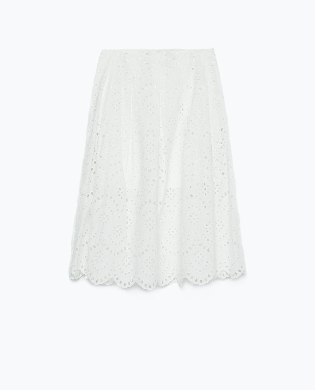 Long Laser Cut Skirt - length: below the knee; pattern: plain; fit: loose/voluminous; waist: mid/regular rise; predominant colour: white; occasions: casual, occasion, creative work; style: a-line; fibres: cotton - 100%; pattern type: fabric; texture group: broiderie anglais; season: s/s 2015; wardrobe: highlight