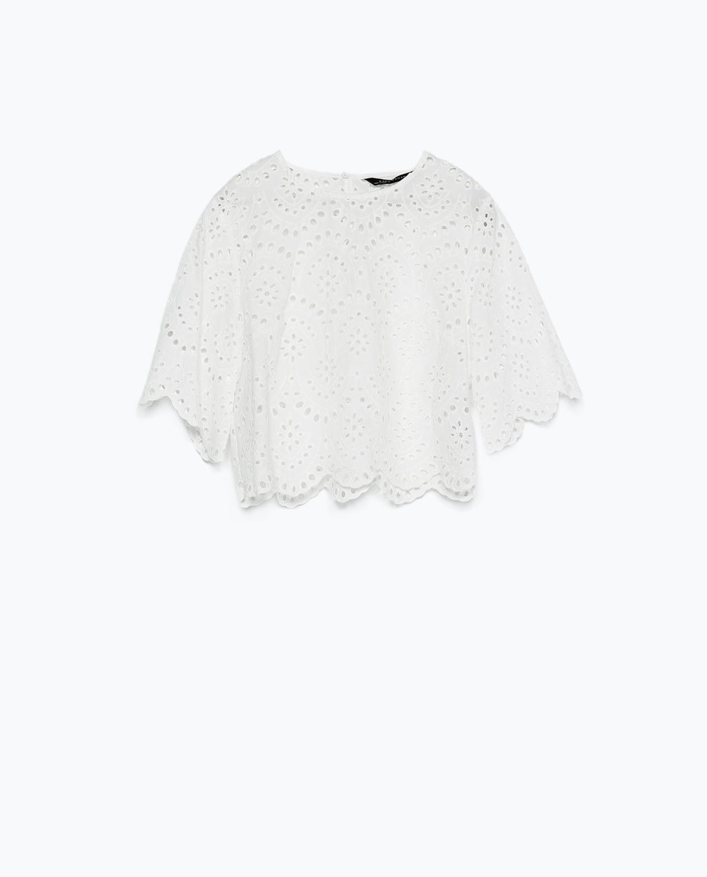 Cropped Embroidered Laser Cut Top - pattern: plain; length: cropped; predominant colour: white; occasions: casual; style: top; fibres: cotton - 100%; fit: straight cut; neckline: crew; sleeve length: short sleeve; sleeve style: standard; texture group: cotton feel fabrics; pattern type: fabric; season: s/s 2015; wardrobe: basic
