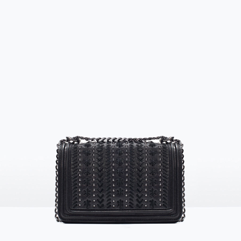 Microstudded Leather Messenger Bag - predominant colour: black; occasions: casual, creative work; style: messenger; length: shoulder (tucks under arm); size: standard; material: leather; embellishment: studs; pattern: plain; finish: plain; season: s/s 2015