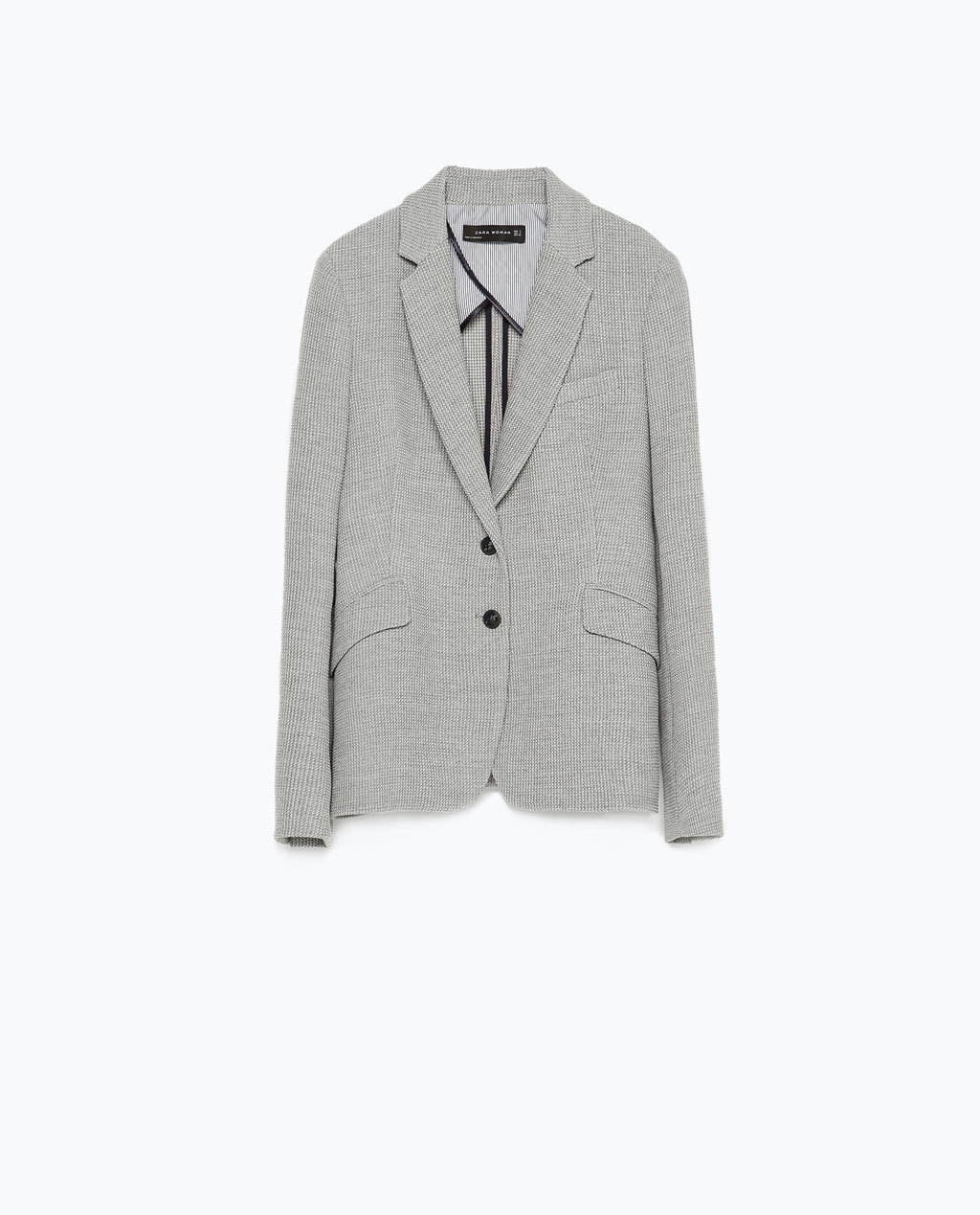 Tailored Jacket - pattern: plain; style: single breasted blazer; collar: standard lapel/rever collar; predominant colour: light grey; occasions: evening, work, creative work; length: standard; fit: tailored/fitted; fibres: polyester/polyamide - stretch; sleeve length: long sleeve; sleeve style: standard; collar break: medium; pattern type: fabric; texture group: woven light midweight; season: s/s 2015; wardrobe: investment